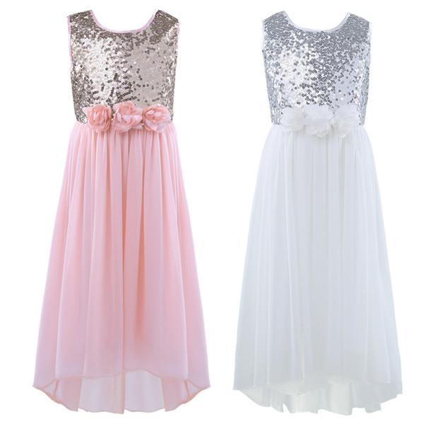 47075c5b2d18f TiaoBug Moda Kız Şifon Sequins Çiçek Kız Elbise Prenses Pageant Kolsuz  A-Line Yüksek düşük