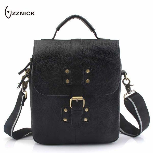 ZZNICK Genuine Leather Shoulder Bags Fashion Men Messenger Bag Small ipad Male Tote Vintage New Crossbody Bags Men's Handbag