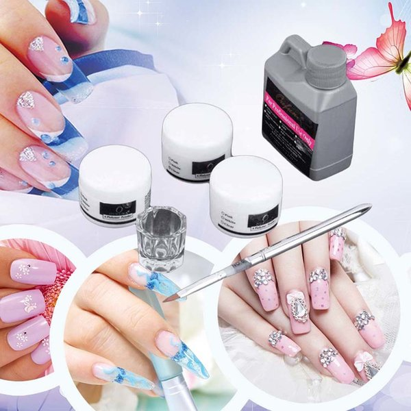 best selling 2017 6 Pcs Set Portable Nail Art Tool Kit Acrylic Powders Liquid Crystal Clear Glass Pen Manicure Set High Quality D18111503