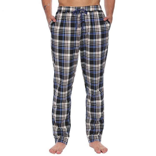 9d14ff0baa7 Mens Cotton Casual Sleep Bottoms Elastic Waist with Drawstring Plaid Pajama  Sleepwear Pants Plus Size Male Homewear