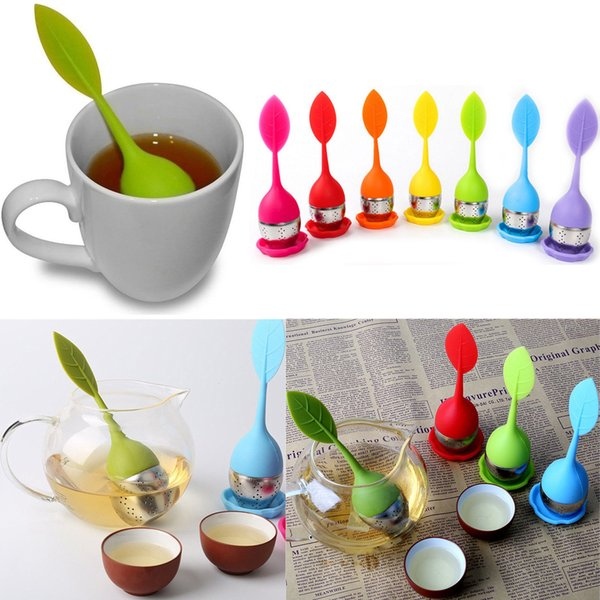 best selling Silicone Stainless Steel Loose Leaf Tea Strainer Teaspoon Infuser Ball Filter Teapot with Drop Tray Herbal DDA414