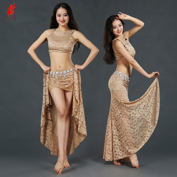 New belly dance clothes sexy lace sleeveless top+long skirt 2pcs belly dance set for women suit girls set