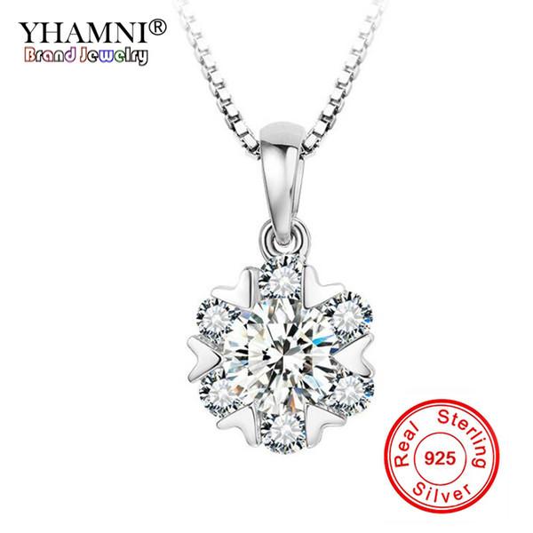 a6deaf6150d236 YHAMNI Fashion 925 Sterling Silver 1 Ct CZ Diamant Flower Pendant Necklace  For Women Fashion Wedding