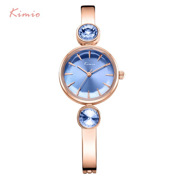 KIMIO Brand Stainless Steel Women Watches Luxury Blue Gem Rhinestone Bracelet Watch Waterproof Ladies Quartz Watch Montre Femme