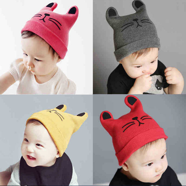 INS Baby cartoon Caps Kitty Woolen Yarn Autumn Winter Beanies Knitted Girl Gifts Infant Hats Cute Rabbit Ears Hats 12 Colors LC645-1