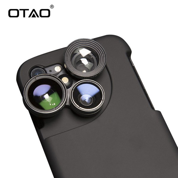 wholesale 4 in 1 Mobile Phone Lensese Cases Full Coverage For iPhone X 8 7 6S 6 Plus Wide Angle Macro Fisheye Phone Lenses Black Case