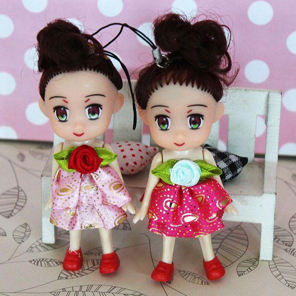 Mini Kawaii Cute Plush Princess Girl Dolls Key Chain Fashion Baby Kids Plastic Dolls Keyring Toys Random Color