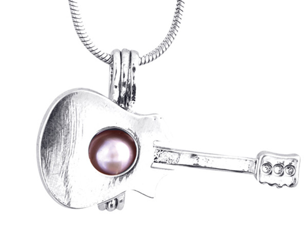 Silver Guitar shape Locket Pearl Beads Cage Pendant Add Oyster Jewelry DIY fashion women Gift P49