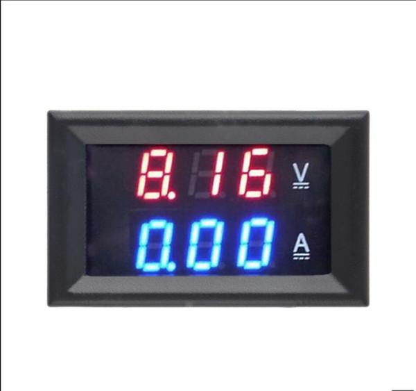 Free Shipping DC 0-100V 10A Voltmeter Ammeter Red+ Blue LED Amp Dual Digital Volt Meter Gauge LED display
