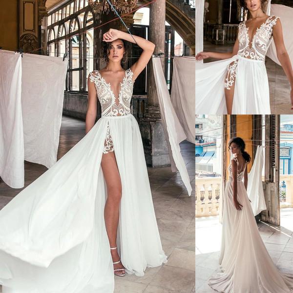 Sexy V Profundo Pescoço V Vestidos de Casamento de Praia Lado Alta Renda Appliqued Ilusão Corpete Trem Da Varredura Bohomian Vestidos de Noiva Do Casamento BC0277