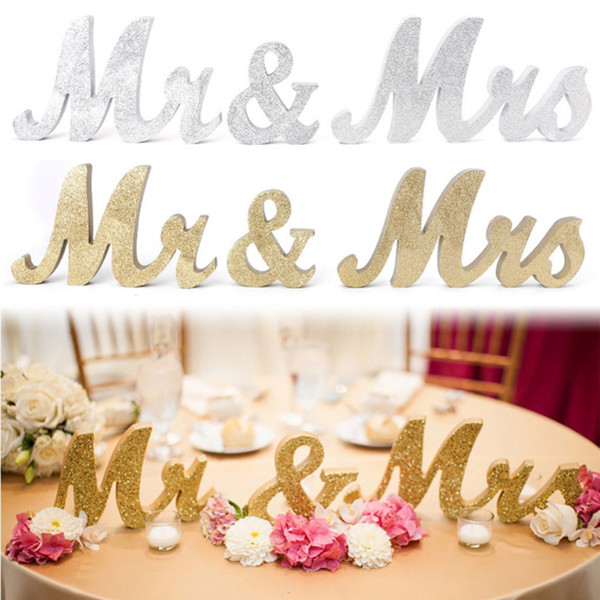 Wholesale 3 PCS/Set Sparkling Glitter/Silver Wooden Mr & Mrs Wedding Letters Table Sign Centrepiece Decor for Wedding Party