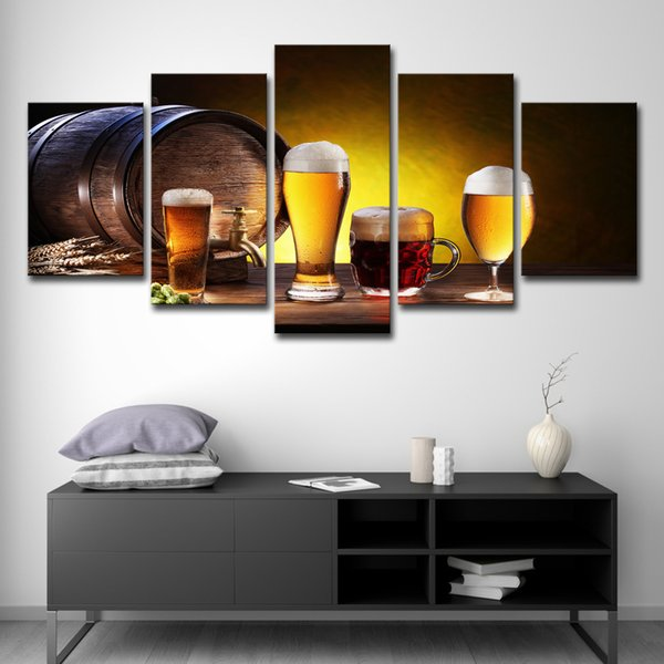 5 PCS Canvas HD Prints Pictures Living Room Framework 5 Pieces Beer And Wine Glass Oak Barrels Paintings Wall Art Kitchen Poster Decor