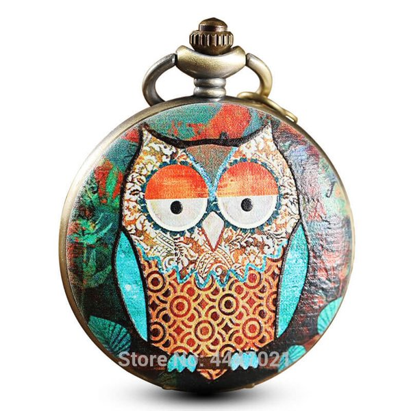 Painted Printing Owl Pocket Watches Chains Quartz Personalised Pocket Watches Steampunk Men Women Kids Gifts Reloj De Bolsillo