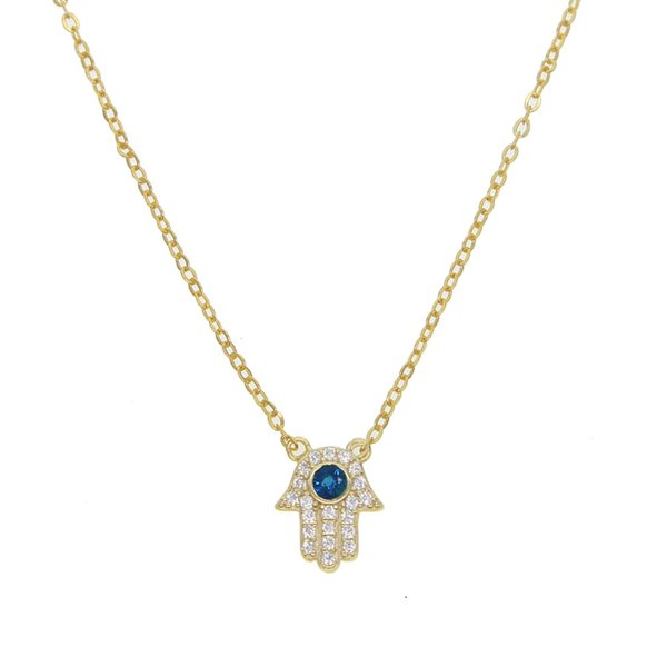 Real Collier Sparkling Hamsa Hand Necklace 2018 New Jewelry blue stone dainty Pendant For Women 925 silver Lucky fatima Golden Chokers