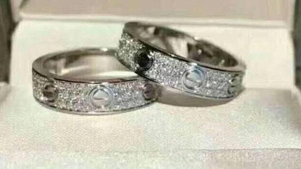 Anillos de joyería Anillo de boda de compromiso de acero titanium 2/3 filas Circonio Diamante para hombres y mujeres 2 Color Select