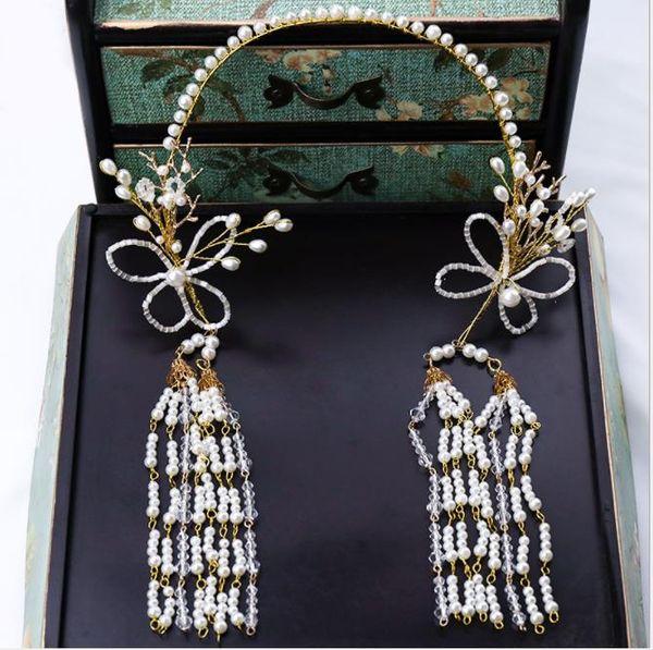 Pearl tassel hair belt headwear exquisite classic butterfly modelling pearl brides headwear