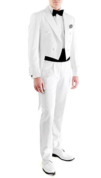Handsome Groomsmen Peak Lapel Groom Tuxedos White Tailcoat Style Men Suits Wedding/Prom Best Man Blazer (Jacket+Pants+Tie)O361