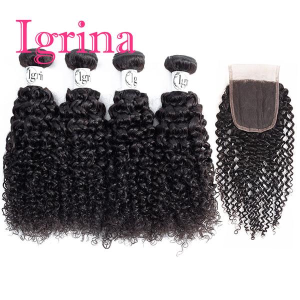Igrina Pelo rizado brasileño de la Virgen 4 paquetes con cierre de encaje Tejido Jerry Rizado Paquetes de cabello humano rizado profundo y ondulado con cierre