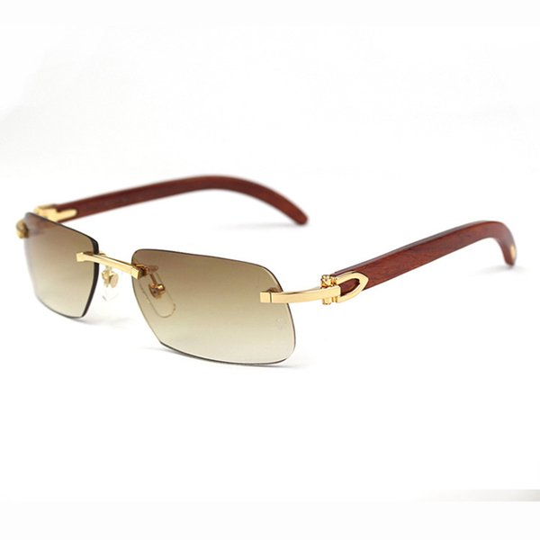 Rimless Sunglasses Men Wood And Nature Buffalo Horn Shield Mens Driving Shade Eyewear Brand Designer Glasses Sun Glass