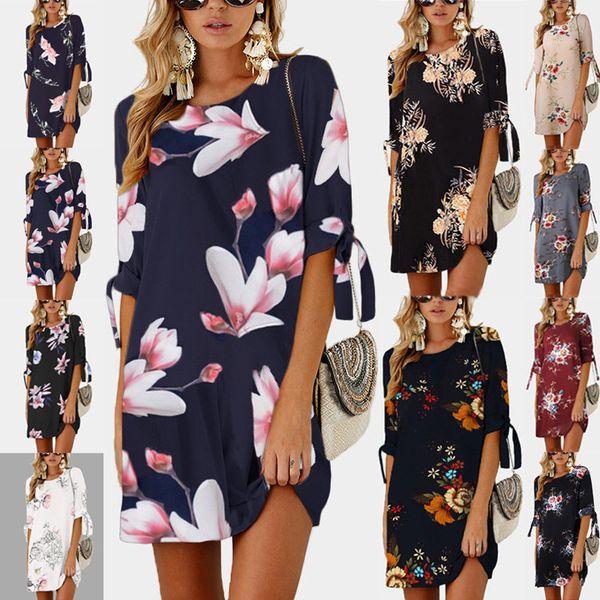 d7c0bca7162 2018 elegant women summer mini dress ploral work office dress loose ladies  casual split dress white female vestidos beach boho style