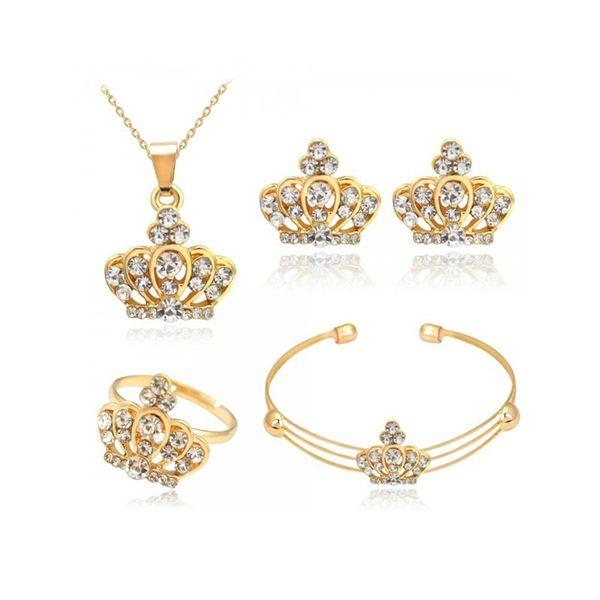 Rhinestone Alloy Jewelry Set 4 pcs Crown Pendant Necklace Earring Ring Bracelet Charm Gift Women Wedding Jewelry Set Accessories
