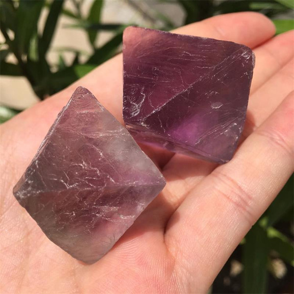 Free shipping 2pcs Beautiful Big size Purple and Green Fluorite Octahedron Crystals Stones Healing Stones Craft for Chakra pendant