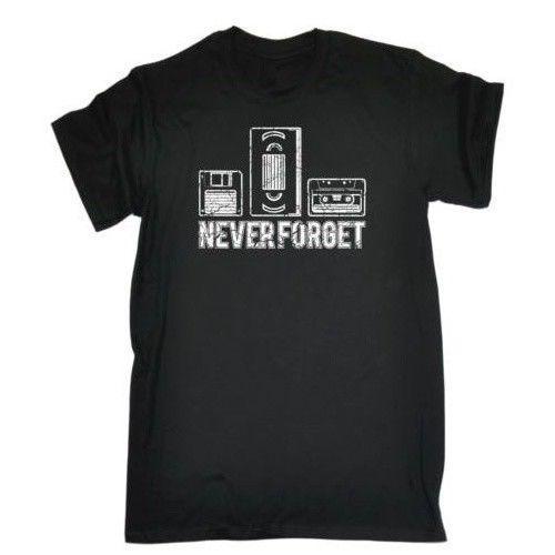 Never Forget Black T-Shirt Floppy disk, VHS & Cassette