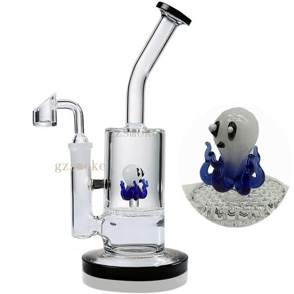 Glass Bong Dab Oil Rigs Purple Swan on Honeycomb perc Animal Colorful bongs Funny Blue heady Water Pipe Rig Thick