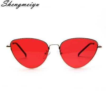 Retro Kedi Göz Güneş Kadınlar Sarı Kırmızı Lens Güneş gözlükleri Moda Hafif Sunglass kadınlar için Vintage Metal Gözlük