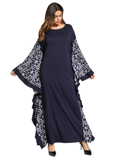 Women\'S Plus Size Dress Middle East Muslim Long Dress Bat Sleeve Printed  National Style Muslim Gown Elegant Maxi Loose Dress Navy Blue Party Dress  ...