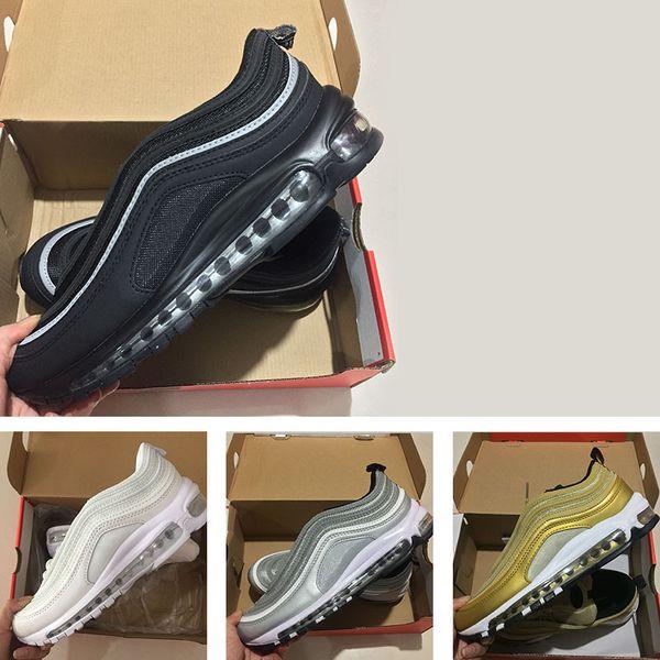 Großhandel Nike Air Max 97 Ultra UL PRM Dreifach Weiß Metallic Gold Silber Bullet WEISS 3M Heißer Verkauf Premium Laufschuhe Männer Frauen Freies