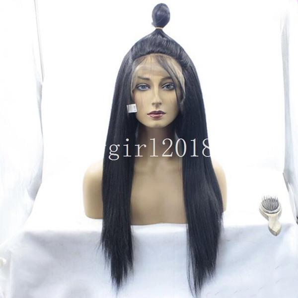 2018 коричневый синтетические кружева фронт парик синтетические волосы Glueless кружева фронт парик свет Яки прямые волосы парики с детские волосы для афроамериканцев