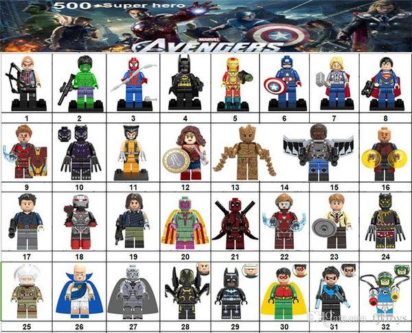 Wholsale Super hero Mini Figures Marvel Avengers DC Justice League Wonder woman Ironman Batman Black Panther building blocks kids gifts