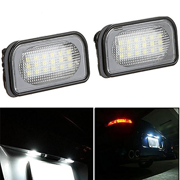 2 x 18-SMD LED License Plate Lights for Mercedes Benz C-Class W203 4D Sedan 2001-2007 SMD3528 LED Number Plate Lamp Bulb For Benz
