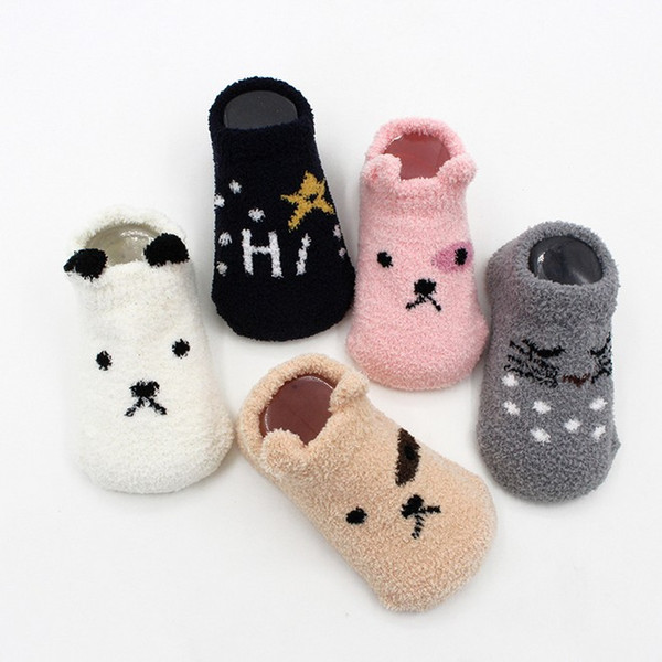 Autumn Winter Newborn Baby Socks Coral Fleece Warm And Thick Funny
