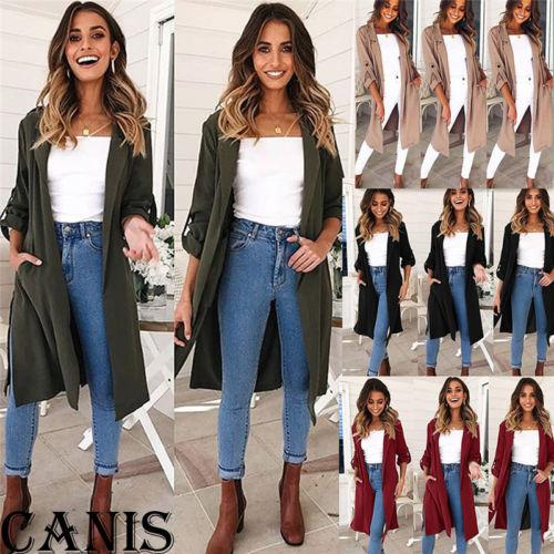 2018 New Fashion Long Trench Women Long Sleeve Slim Overcoat Outwear Kimono Slouchy Cardigan Lady Casual Tops Mid Length
