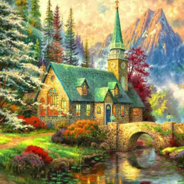 5D Diy diamond painting, diamond embroidery, home decoration, crafts, mosaic, cross stitch, mountain, trees, houses, streams