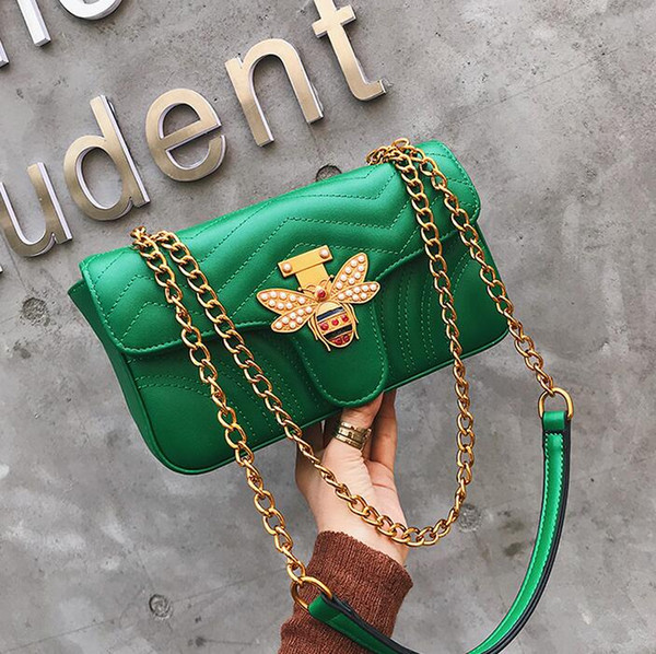 Factory direct brand women bag fashion little bee chain bag personality diamond fashion shoulder bag elegant temperament wavy leather hand s