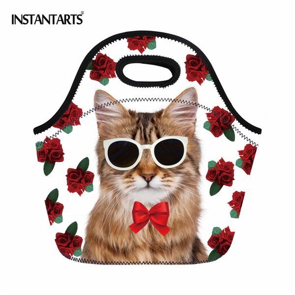 INSTANTARTS 3D Animal Cat Dog Pattern Thermal Picnic Bags Outdoor Hiking Camping Storage Box Lunch Tote Handbag for Women