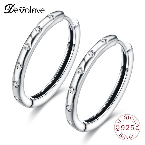 Devolove Authentic 925 Sterling Silver Droplets Earrings Round For Women Silver Jewelry Accessories Perty Earrings Female Gift