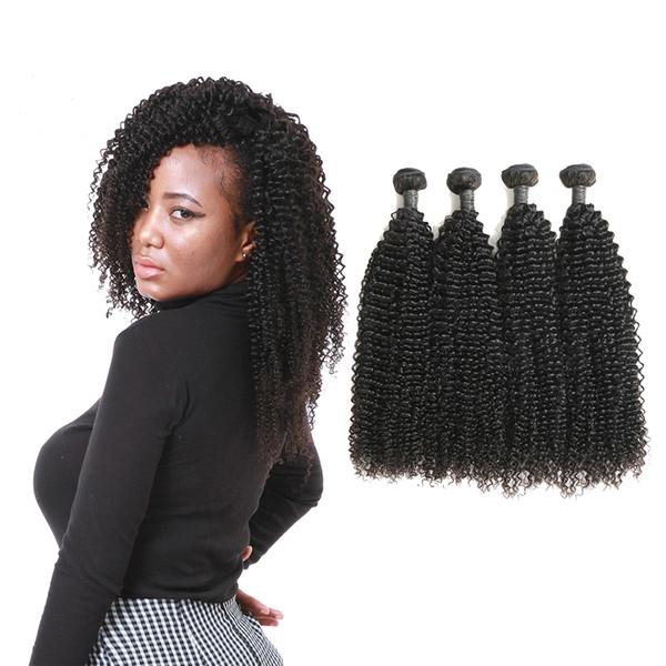 Estensioni dei capelli ricci crespi vergini setose vergini indiane di alta qualità di grado 9A 4 pacchi in vendita