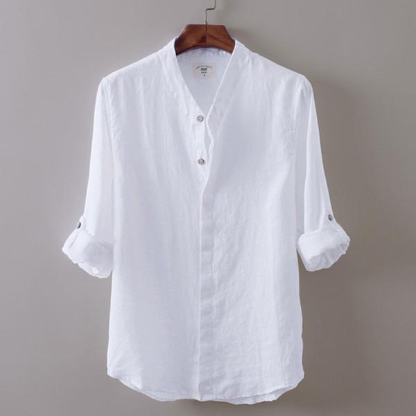 hirigin Nuevos M-XXL hombres camisas de lino blanco con cuello en V manga larga Transpirable camisa fina fina hombres mujeres camisa sólida ocasional