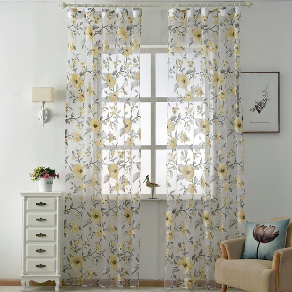 2019 Flat Window Floral Tulle Curtains Modern Sheer Fabrics Purple Home Textile Kitchen Door Curtain Short Curtains Living Room Window Treatment From