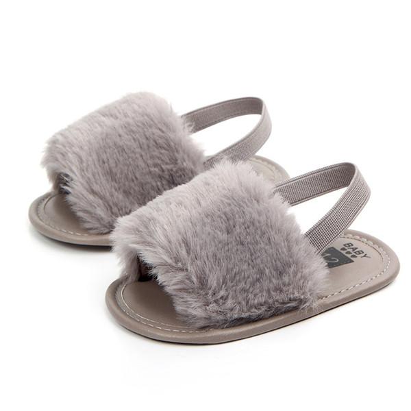 2018 New Kids Baby Girls Soft Sole Non-slip Shoes Plush Slide Sandal Summer Sandal