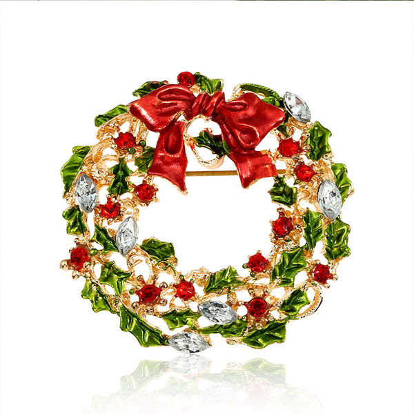 2018 christmas gifts colored enamal epoxy with diamond garlands brooch collar bows pin 3pieces a lot