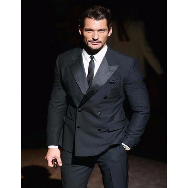 Customized new black double-breasted guns collar men's suit groom groomsmen wedding dress, men's business formal suit (coat + pants)