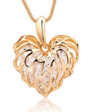 New Style Alloy jewelry hollow love leaves sparkle zircon sweater chain necklace necklace sweater chain classic fashion exquisite