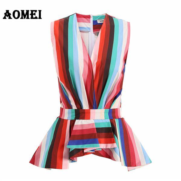 Donna Modest Summer Peplum Top Camicetta Wear to Work Scollo V Lady Office Top Senza maniche Blu Stripes Blusas Camicie