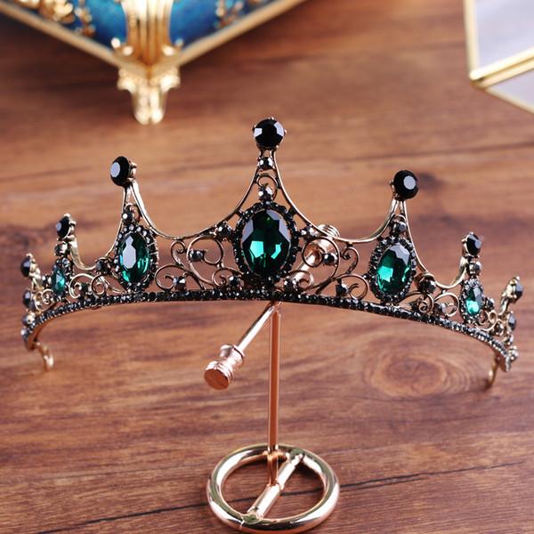 Barroco de gama alta de cristal verde de la vendimia corona nupcial boutique de sombrerería tiara de la boda sombreros