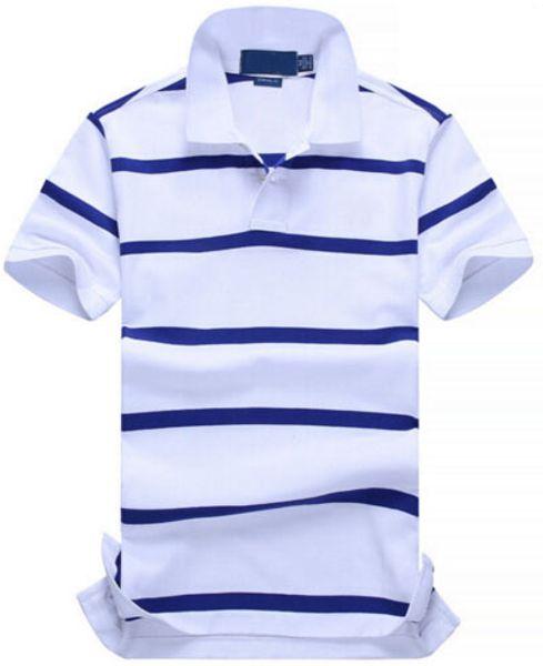 Список Новый рубашки поло Мужчины хлопок мода цвет полосатый camisa поло маленькая лошадь печати masculina де marca лето повседневная рубашки Белый